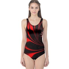 Abstract Curve Dark Flame Pattern One Piece Swimsuit