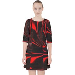 Abstract Curve Dark Flame Pattern Pocket Dress