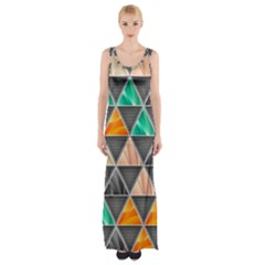 Abstract Geometric Triangle Shape Maxi Thigh Split Dress