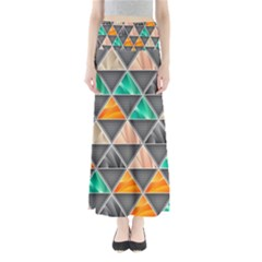 Abstract Geometric Triangle Shape Full Length Maxi Skirt