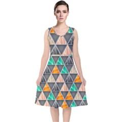Abstract Geometric Triangle Shape V Neck Midi Sleeveless Dress