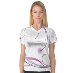 Abstract Background Flowers V Neck Sport Mesh Tee