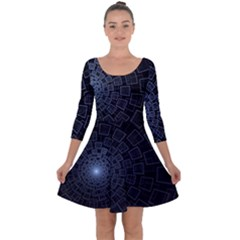 Pattern Abstract Fractal Art Quarter Sleeve Skater Dress