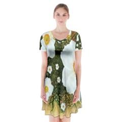 Summer Anemone Sylvestris Short Sleeve V Neck Flare Dress by Nexatart