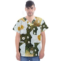 Summer Anemone Sylvestris Men s V Neck Scrub Top