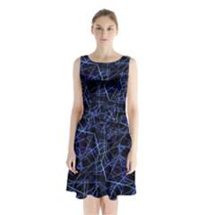 Galaxy Linear Pattern Sleeveless Waist Tie Chiffon Dress