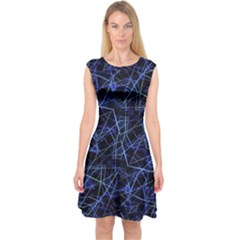 Galaxy Linear Pattern Capsleeve Midi Dress