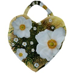 Summer Anemone Sylvestris Giant Heart Shaped Tote by Nexatart