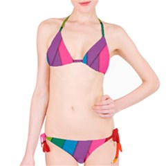 Abstract Background Colorful Strips Classic Bikini Set