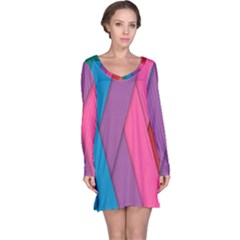 Abstract Background Colorful Strips Long Sleeve Nightdress