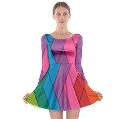 Abstract Background Colorful Strips Long Sleeve Skater Dress