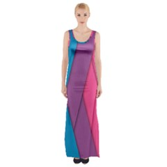 Abstract Background Colorful Strips Maxi Thigh Split Dress