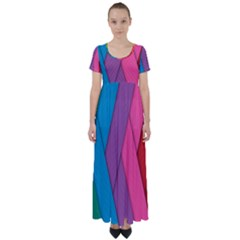 Abstract Background Colorful Strips High Waist Short Sleeve Maxi Dress