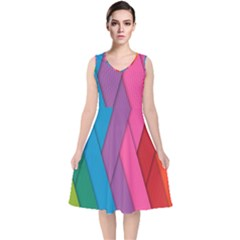 Abstract Background Colorful Strips V Neck Midi Sleeveless Dress