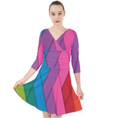 Abstract Background Colorful Strips Quarter Sleeve Front Wrap Dress