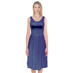Fractal Rendering Background Blue Midi Sleeveless Dress