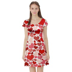 Abstract Background Decoration Hearts Love Short Sleeve Skater Dress