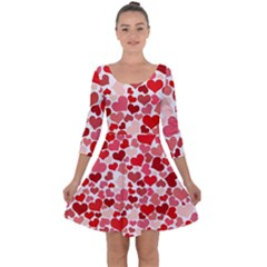Abstract Background Decoration Hearts Love Quarter Sleeve Skater Dress
