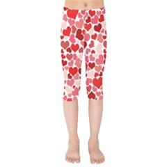 Abstract Background Decoration Hearts Love Kids  Capri Leggings
