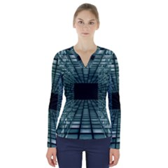 Abstract Perspective Background V Neck Long Sleeve Top