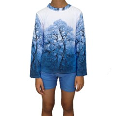 Nature Inspiration Trees Blue Kids  Long Sleeve Swimwear