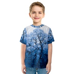 Nature Inspiration Trees Blue Kids  Sport Mesh Tee