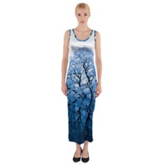 Nature Inspiration Trees Blue Fitted Maxi Dress