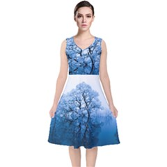 Nature Inspiration Trees Blue V Neck Midi Sleeveless Dress