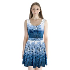 Nature Inspiration Trees Blue Split Back Mini Dress