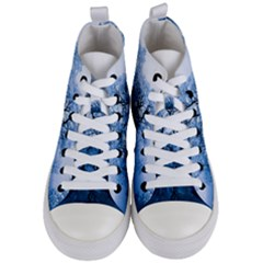 Nature Inspiration Trees Blue Women s Mid Top Canvas Sneakers