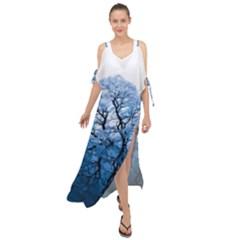 Nature Inspiration Trees Blue Maxi Chiffon Cover Up Dress
