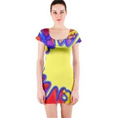 Embroidery Dab Color Spray Short Sleeve Bodycon Dress