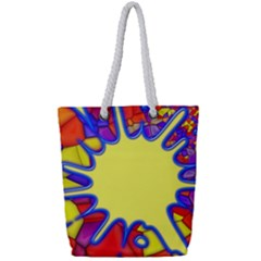 Embroidery Dab Color Spray Full Print Rope Handle Tote (small)