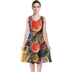 Color Box Colorful Art Artwork V Neck Midi Sleeveless Dress