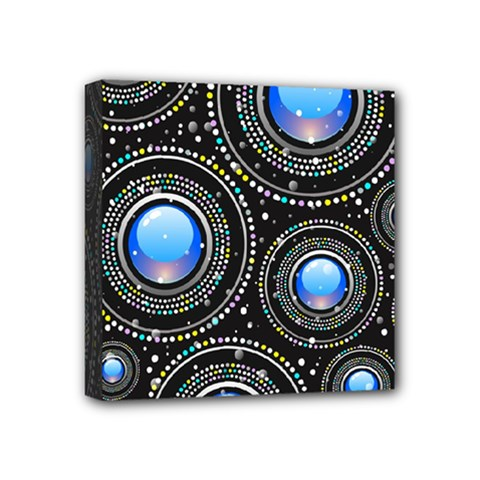Background Abstract Glossy Blue Mini Canvas 4  X 4