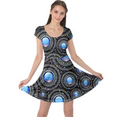 Background Abstract Glossy Blue Cap Sleeve Dress