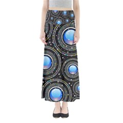 Background Abstract Glossy Blue Full Length Maxi Skirt