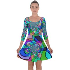 Retro Wave Background Pattern Quarter Sleeve Skater Dress