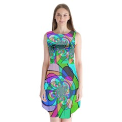 Retro Wave Background Pattern Sleeveless Chiffon Dress