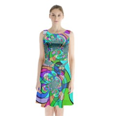 Retro Wave Background Pattern Sleeveless Waist Tie Chiffon Dress