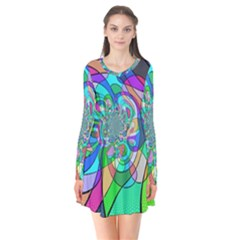 Retro Wave Background Pattern Long Sleeve V Neck Flare Dress