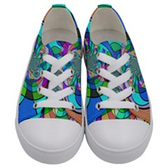 Retro Wave Background Pattern Kids  Low Top Canvas Sneakers