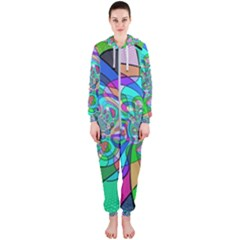 Retro Wave Background Pattern Hooded Jumpsuit (ladies)
