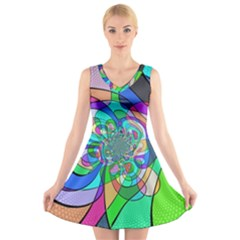 Retro Wave Background Pattern V Neck Sleeveless Dress