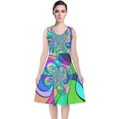 Retro Wave Background Pattern V Neck Midi Sleeveless Dress
