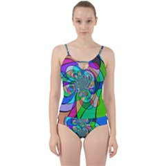 Retro Wave Background Pattern Cut Out Top Tankini Set