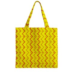 Yellow Background Abstract Zipper Grocery Tote Bag