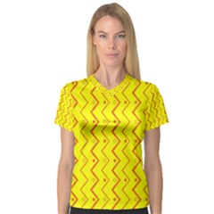 Yellow Background Abstract V Neck Sport Mesh Tee