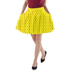 Yellow Background Abstract A Line Pocket Skirt