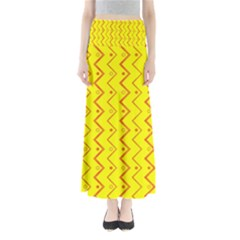 Yellow Background Abstract Full Length Maxi Skirt